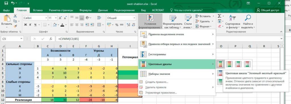 Условное форматирование градиентом в Excel