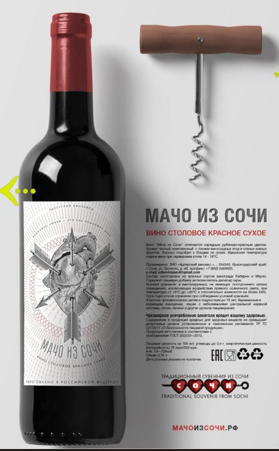 Дизайн как бизнес идея: Фирменная бутылка с логотипом из серии «Мачо из Сочи»